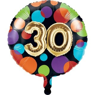 "Club Pack of 10 Multi color ""30"" Birthday Milestone Celebrations Metallic Balloon 7.8"
