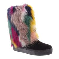 Penny Loves Kenny Women's Airbrush Fur Boot Black Microsuede/Multi Faux Fur