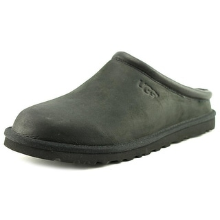 UGG Classic Clog Men  Round Toe Leather Black Slipper