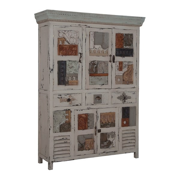 """GuildMaster 602503 Artifacts 53"""" Wide 3 Drawer Hand Carved Mahogany Accent Cabinet - Heritage Gray Stain"""