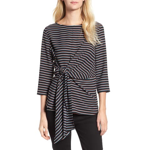 Gibson Womens Black Size Large L 3/4 Sleeve Stripe Tie-Front Crepe