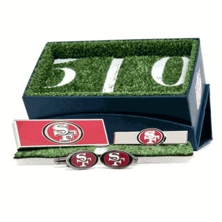 San Francisco 49ers Cufflinks, Money Clip and Tie Bar Gift Set - Red