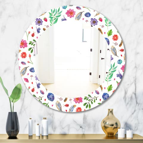 Designart 'Feathers 12' Bohemian and Eclectic Mirror - Oval or Round Wall Mirror - White