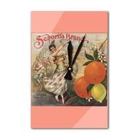 Senorita Brand - CA - Citrus Crate - Vintage Label (Acrylic Wall Clock) - acrylic wall clock