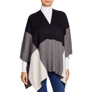 Sioni Womens Poncho Sweater Wool Colorblock