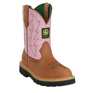 Johnny Popper Western Boots Girls Kids John Deere Tan Pink JD2185