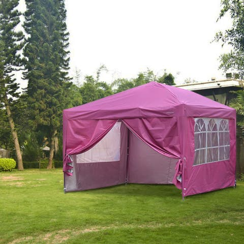 Ainfox 10x10ft Outdoor Pop Up Canopy Tent with 4 Removable Sides and Carrying Bag