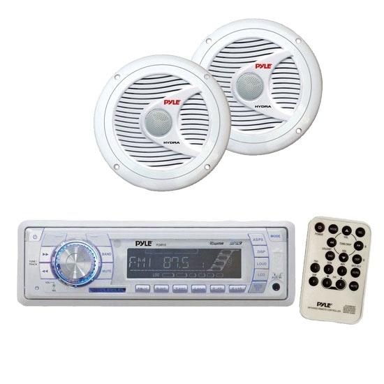 AM/FM-MPX PLL Tuning Radio w/SD/MMC & USB + 150 Watts 6.5'' 2 Way White Marine Speakers