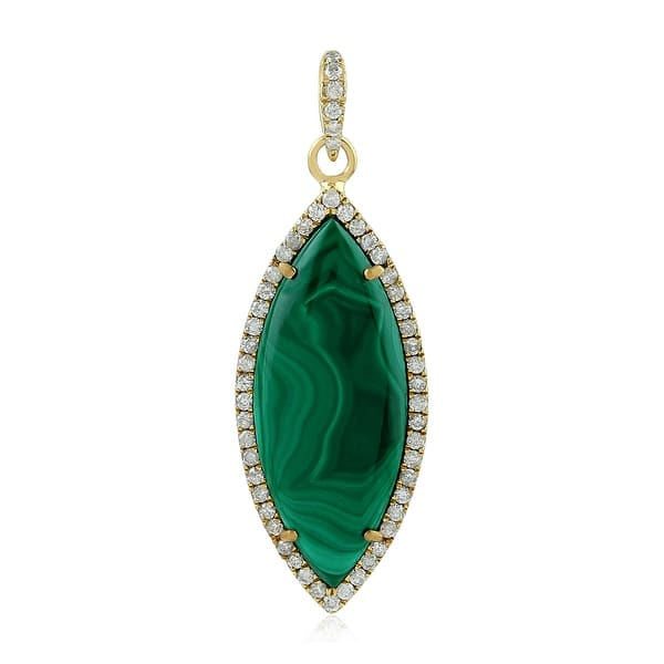 oval solitaire. Natural Green Malachite pendant sterling silver necklace gemstone jewelry