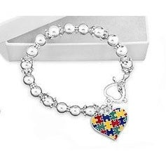 Colored Puzzle Piece Heart Beaded Bracelet for Autism Awareness - Multi-Color
