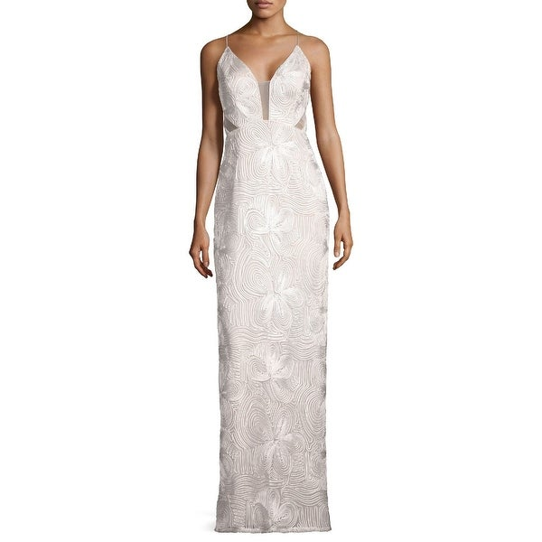 Aidan Mattox Piped Sleeveless Evening Gown Dress Ivory