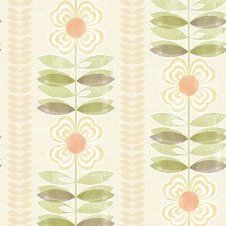 Brewster 2535-20672 Flora Yellow Modern Floral Stripe Wallpaper