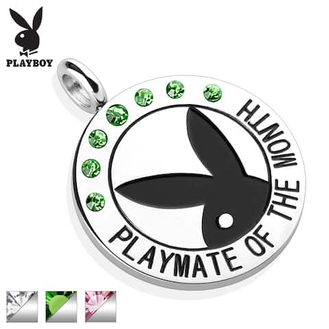 """Playboy Logo with Colored Gems """"Playmate Of The Month"""" Pendant (28 mm Width)"""