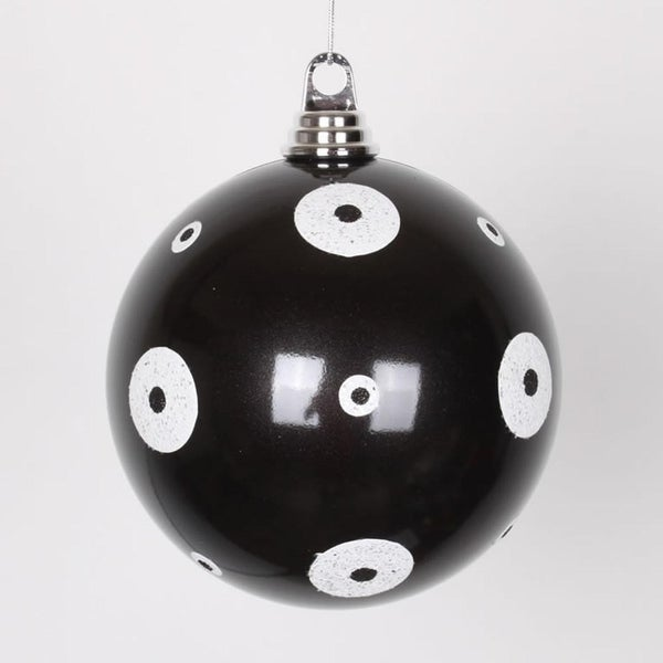 "Candy Black with White Glitter Polka Dots Size Christmas Ball Ornament 6"" (150mm)"