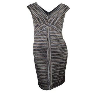 Signature Women's Metallic V-neck Sheath Dress - 12