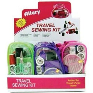 Assorted Colors - Allary Travel Sewing Kit Display 12Pc
