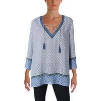 NYDJ Womens Tunic Top Printed Lace-Up