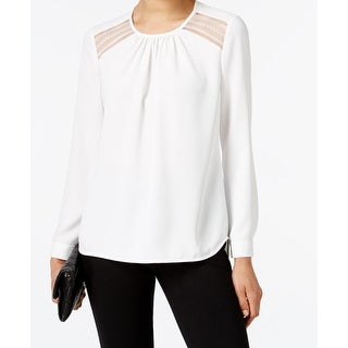 Anne Klein NEW White Ivory Women's 14 Long Sleeve Lace Insert Blouse