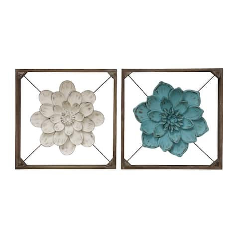 The Gray Barn Collection of Wood Box Framed Metal Flowers Suspended on X-wire Wall Sculpture (Set of 2)