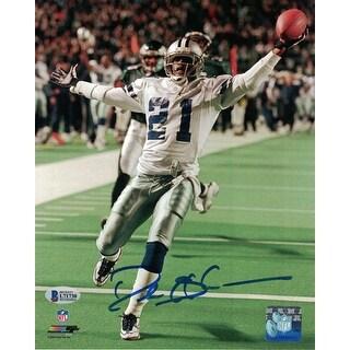 Deion Sanders Autographed Dallas Cowboys 8x10 Photo Vs Eagles BAS