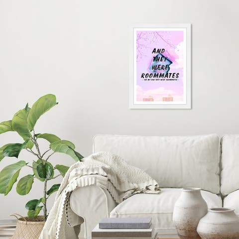 Wynwood Studio 'And They Were Roommates' Typography and Quotes Purple Wall Art Framed Print