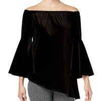 NY Collection Black Women's Size XL Velvet Asymmetric Dress Top