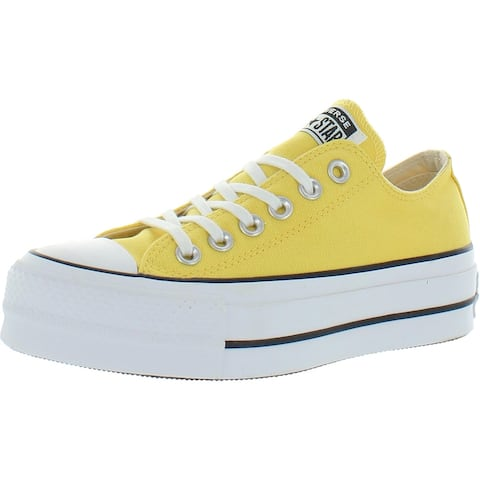 Converse All Star Lift Low Canvas Platform Fashion Sneakers - Butter Yellow/Black/White