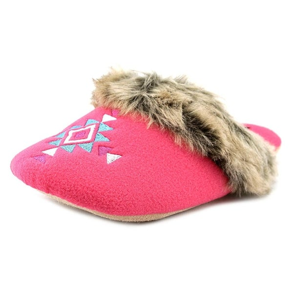 Kensie Fleece Embroidered Mule Slippers Round Toe Canvas Slipper
