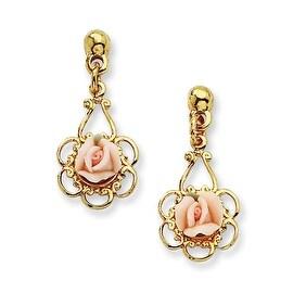 Goldtone Porcelain Rose/Cultura Glass Pearl Teardrop Post Earrings