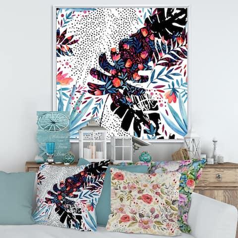 Designart 'Tropical Floral Patchwork I' Tropical Framed Canvas Wall Art Print