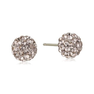 Crystaluxe Peach Ball Stud Earrings with Swarovski Crystals in 14K Gold - Orange