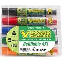 Pilot V Board Master BeGreen Refillable Dry Erase Marker, Medium Chisel Tip, Assorted Ink, Pack of 5