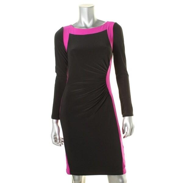 Lauren Ralph Lauren Womens Cocktail Dress Matte Jersey Colorblock