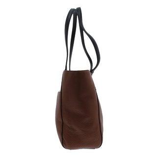 Calvin Klein Womens Rowan Tote Handbag Leather Colorblock - Medium