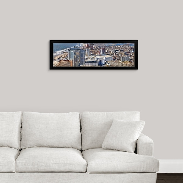 """""""Aerial view of a city, Atlantic City, New Jersey"""" Black Framed Print"""