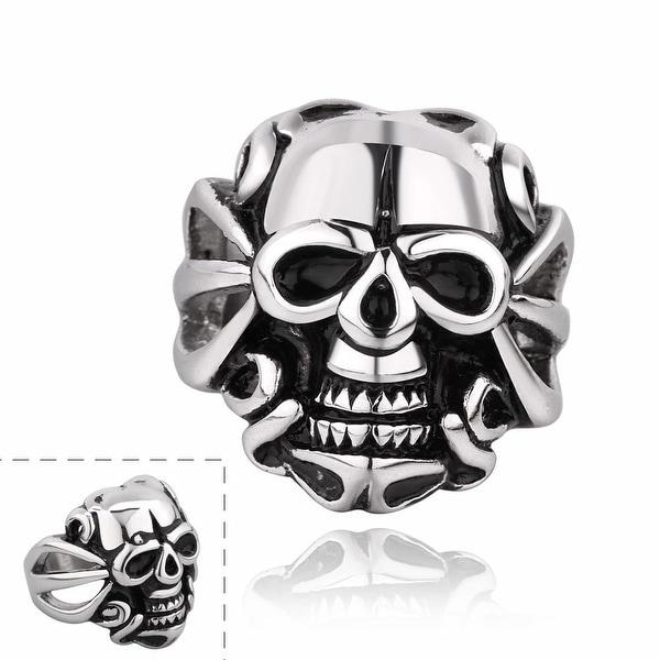 Vienna Jewelry Single Skull Emblem Stainless Steel Ring