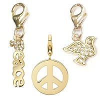 Julieta Jewelry Peace Sign, Peace, Dove 14k Gold Over Sterling Silver Clip-On Charm Set
