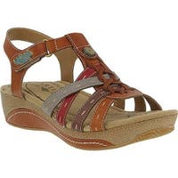 L'Artiste by Spring Step Women's Cloe Strappy Sandal Camel Leather