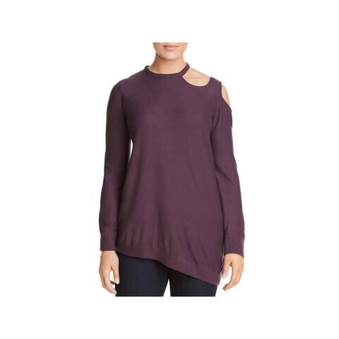 Love Scarlett Womens Plus Pullover Sweater Cut Out Asymmetric