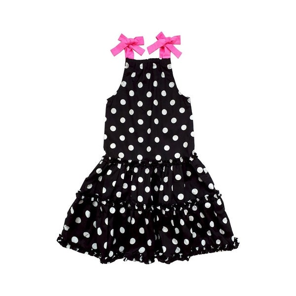 6e6f6dbe4 Shop Sophie Catalou Little Girls Black White Polka Dot Pink Ties Bibi Dress  - Free Shipping On Orders Over $45 - Overstock - 23082931