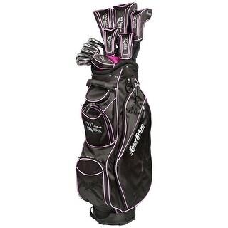 Tour Edge Moda Silk Full Set 2017 Ladies Right 11 Clubs + 1 Cart Bag Black/Bright Pink Standard