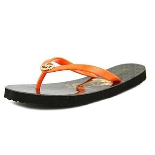 Michael Kors Womens MK Flip Flop Shiny Open Toe Beach - multi-color, mimosa brown