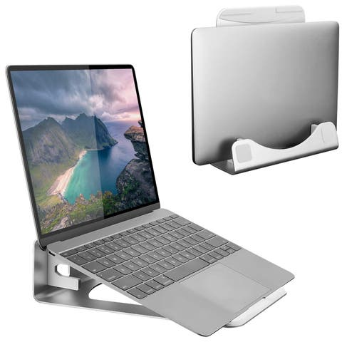 Mount-It! Vertical Laptop Stand, Space-Saving Tilted Aluminum Laptop Riser and Holder for Apple Notebooks - MI-7276