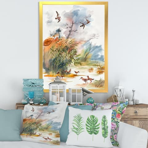 Designart 'Autumn Landscape With Flying Over The Water' Traditional Framed Art Print