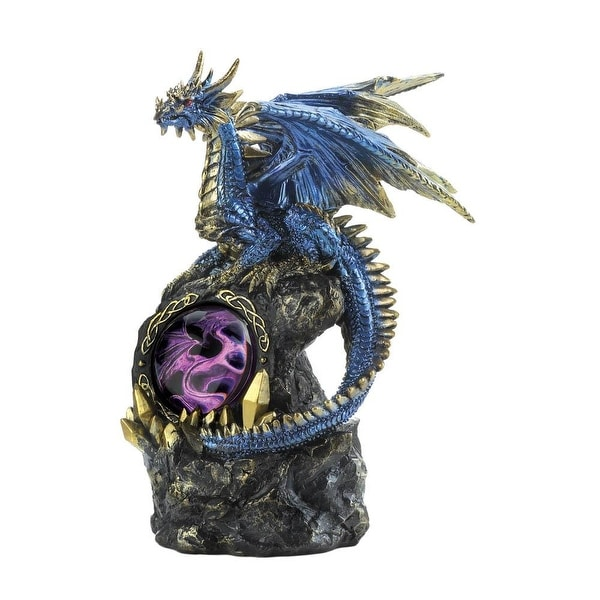 Novelty Blue Dragon On Rocks Statue