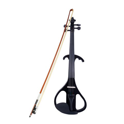 """4/4"""" Basswood Electric Violin Case Rosin Head Set Bow Connecting Line"""