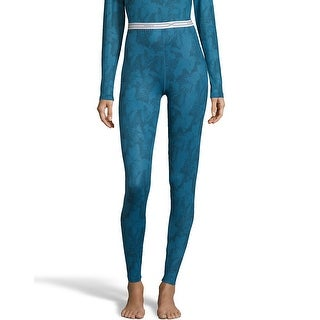 Hanes Women's Print 4-Way Stretch Thermal Pant - Color - Teal Combo - Size - 2XL