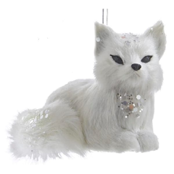 White and Silver Frosted Kingdom Plush Laying Fox Christmas Ornaments 4""
