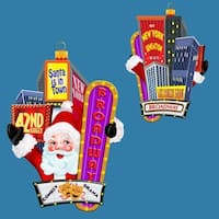 "Pack of 6 Multicolored Glass NYC Broadway Santa Claus Christmas Ornaments 5"" - multi"