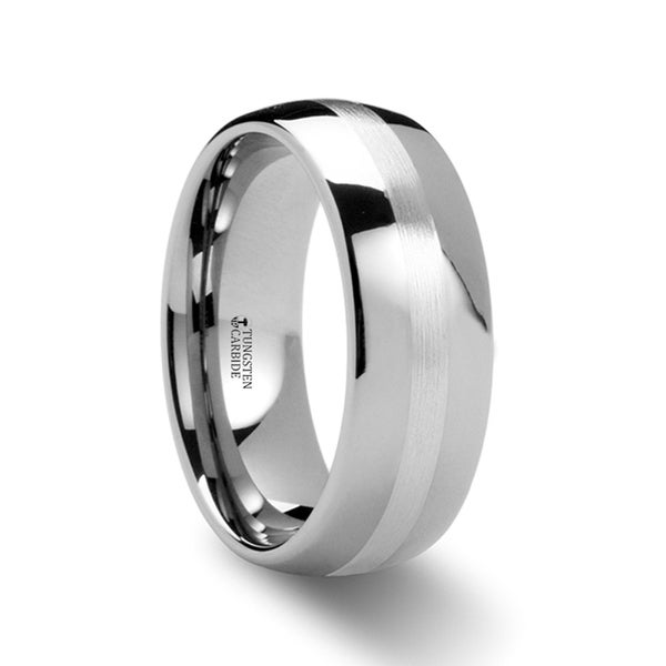 THORSTEN - ALTHALOS Palladium Inlaid Domed Tungsten Ring